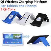 3 Coils Qi Wireless Charging Supportor Platform for iPhone iPad 4 Air ipad Mini Samsung Galaxy Note Tab Nokia Google Nexus 7 UA6