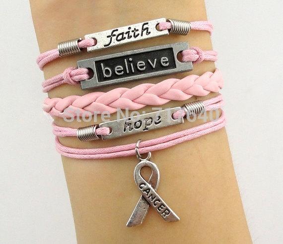 Wholesale Price -- Believe & Faith Hope Breast Cancer Awareness Bracelet Christmas Gift, 6pcs/lot! Free Shipping!(China (Mainland))