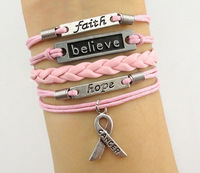 Wholesale Price -- Believe & Faith Hope Breast Cancer Awareness Bracelet Christmas Gift, 6pcs/lot! Free Shipping!