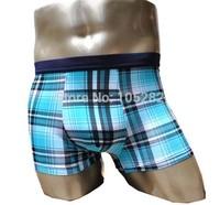 New 2014 factory hot sell Men'ice silk fiber boxers underwear men boxer U Convex shorts blue man plaid trunk Modal panties ML XL
