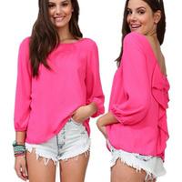 women chiffon loose t-shirt women sexy leopard backless top new 2014 women clothing plus size tops wholesale A755 free shipping