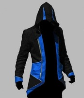Cosplay Costume Assassin's Creed III 3 Connor Conner Kenway Coat Outfit Hoodie Jacket Blue&Black Style Any Size  New in Stock