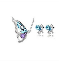 2015 new Korean Crystal necklace earring jewelry set charms butterfly flash drilling earrings wholesale LM jewellry