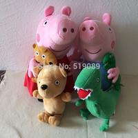Free Shipping Peppa 1set Pig Plush Toys 30cm Peppa Pig & George Pig + 18cm Peppa Teddy Bear & George Dinosaur