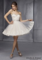 New Fashion Beaded Sweetheart Ball Gown Mini Appliqued White Lace Short Prom Dresses LK092