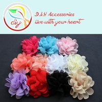 """(50 pieces/lot)4.3"""" Chiffon Fabric Flowers,Baby Headband Accessories,Shoes And Garment Flower(11 colors)"""