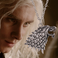 Movie Necklace Of Song Of Ice And Fire Game Of Thrones Stark Wolf Pendant Alloy Metal Silver Color Necklace Movie Jewelry