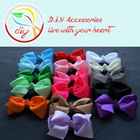 "(60 pieces/lot)Wholesale 3"" Baby Grosgrain Ribbon Bows WITHOUT clip,Headwear Hair bows for Baby Girls"