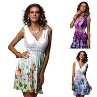 2014 Free Shipping Brand New Vintage Fashion Women's Beach Dress Deep V Neck Printed Casual Dress