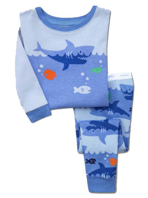 Cute shark design baby long sleeve winter pajamas , kids long sleepwear blue color top + pants wholesale 6pcs/lot(China (Mainland))