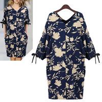 UK Brand New 2014 Women Large Plus Size L,XL,XXL,XXXL XXXXL 5XL V neck Batwing Sleeves A line Vintage Dress Knee Length Vestido