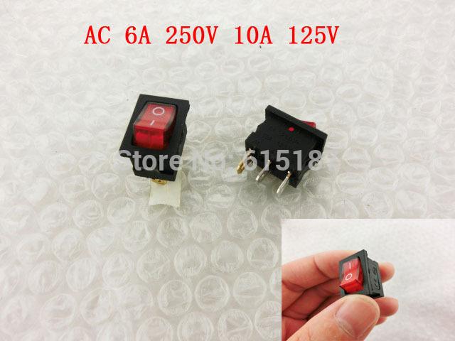 AC 6A 250V 10A 125V Single Pole Single Throw SPST Neon Lamp Rocker Switch(China (Mainland))