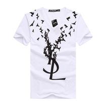 2014 summer new fashion birds letters printed t-shirts for men V -neck short sleeve t-shirt Men's creativity
