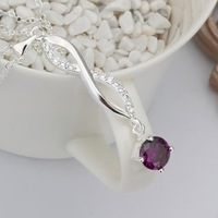 Wholesale New 925 silver pendants Necklace CZ blue Crystal jewelry Necklace 925 sterling silver charm necklaces & pendants N487