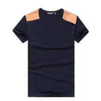 2014 summer new fashion trend for men to fight shoulder V-neck short sleeve t-shirt men's casual t-shirt manufacturers, wholesal