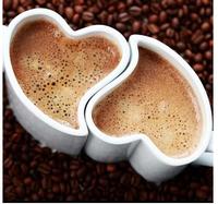 Free shipping 1 pair creative white heart shape mug  cups,  ceramic coffee couple mugs, girl/boy friend birthday gift
