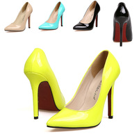 2014 Size35-40 10 Neon Yellow Thin Heel Pointed Loyal Blue Women's Pumps High Heels Red Bottom Vintage Sexy Women shoes