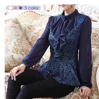 Elegant luxury fashion wild thin lace chiffon shirt Retro court temperament Slim waist shirt embroidered chiffon lace shirt