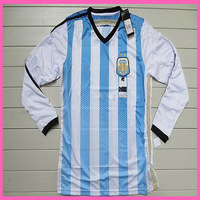 2015 WC Factory Price Player Version Argentina Home Long Sleeve Soccer Shirt,Original Quality Argentina 14/15 LS Jersey,Mix