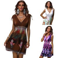Free Shipping Brand New Fashion Deep V Neck Printed Casual Dress Lady Summer Dress