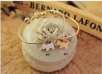SB010 Mix wholesale Free Shipping hot selling 2014 Korean classic jewelry shiny dog Bracelet cheap bracelets for women