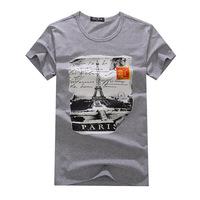 Summer 2014 Men explosion models Men's round neck short sleeve t-shirt Men's cotton printed t-shirts Eiffel Tower