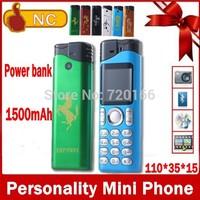 2014 New luxury lighter mini mobile phone power bank flashlight designer cell phones support Russian French Spanish German