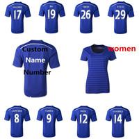 EPL 2015 2014 Chelsea Jersey LAMPARD TORRES HAZARD Oscar Football Shirt,Women Thailand Quality Custom Blue Home Soccer Jersey