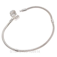 10PCS/Lot Women & Men's European Snake Bracelet & Bangle Chain Silver Plated for Pandora Beads Charms stamped with LOGO on Clasp