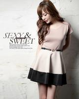 Free shipping,2014 New,Korean Women temperament summer/Spring 3color patchwork sweet mini dress,ladies fashion cute dresses,M/L