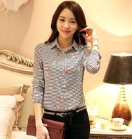 2014 spring/summer new hit color printing plover blouses female long-sleeve chiffon shirt Women heart print plaid slim Overalls