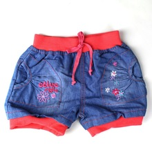 Free shipping! baby children denim straight shorts with the letters design girl's pretty wear (ZQ-NSJ4) (China (Mainland))