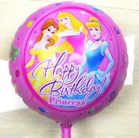 10pcs/lot round Three Princess happy birthday party decoration balloon 1st birthday party supplies quality foil birthdat balloon