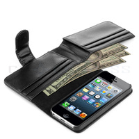 Card Holder Flip Wallet Leather Case Cover For Apple iPhone 5S 5 6 FEDEX Free shipping