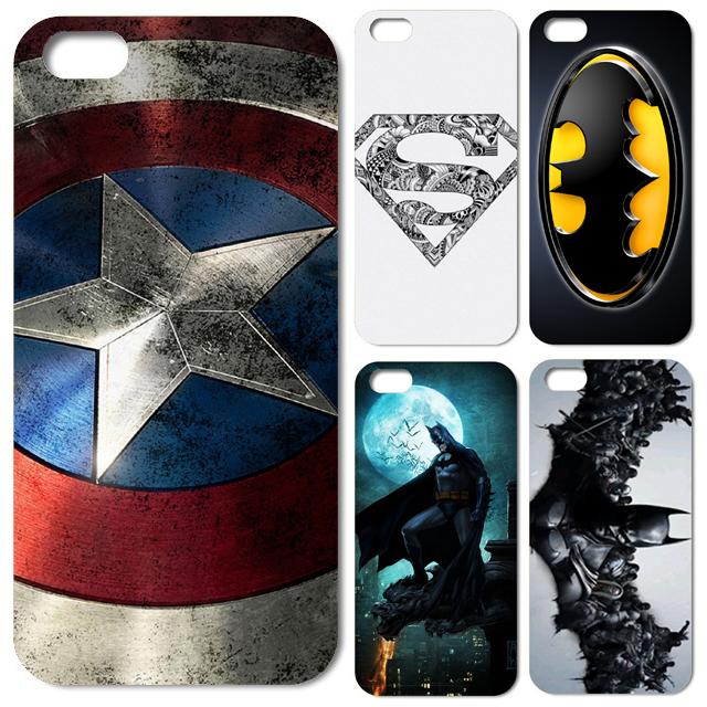 1pcs/lot For iPhone Case Superman Batman Bat Man Captain American Case Cover for Iphone 4 4G 4S 5 5G 5S(China (Mainland))