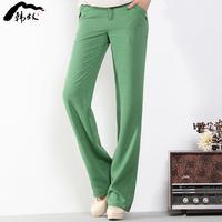 Linen women's fluid straight pants casual pants trousers wide leg pants fashion pants female trousers 2014