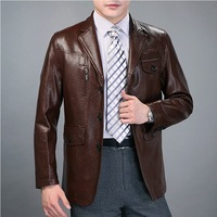 2013 men's casual leather clothing male turn-down collar slim leather suit genuine leather clothing male leather coat male