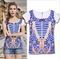 2014 New arrival navy style short sleeve cotton t shirt women 2colors S,M,L Wholesale price