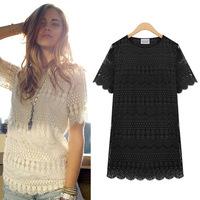 Women Shirt Floral Lace Blouses Slim O-Neck Short Sleeve Shirt Women Clothing 2014 Spring Fashion Tops Black Plus Size XXXXXL