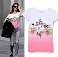 2014 New arrival fashion print beading appliques decoration short sleeve cotton t shirt women 2colors S,M,L Wholesale price