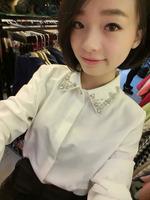 Free shipping,2014 New,women fashion temperament long sleeve chiffon Top shirts,Ladies elegant  fashion diomand neck Blouses
