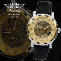 Mechanical Hand Wind Watch Oneloong Brand Watches Promotional Sports Military Skeleton Men Wristwatch