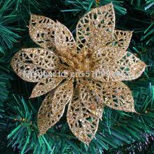 Frete grátis 10 pcs / lot 15 centímetros recorte da flor de ouro da árvore de Natal do Natal da flor artificial árvore de Natal decoração com flores(China (Mainland))