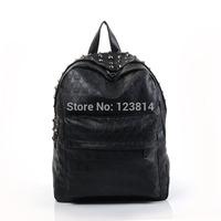 Casual Black Korean-Japan Women Fashion Backpack PU Leather Punk Style Skull Rivet Decorations Novelty Bag 8020-XH