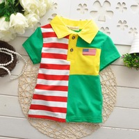 Wholesale 2014 new summer models girls boys cotton short-sleeved T-shirt V-neck T-shirt lapel stitching Free Shipping
