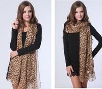 2014 New Hot Sale Woman Fashion Sexy Leopard Grid Patterm Brand Silk Scarf Velvet Chiffon Scarf Super Long Scarves Women Scarf