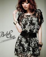 Summer fashion women's 2014 bohemia full dresses silk lace chiffon plus size one-piece dress with belt
