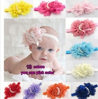 Free shipping 10Pcs/Lot 13 colors NEW Baby Girls chiffon Headbands scarf rose pearl flower Hairbands infant hair accessory FD064