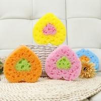 BF020 Fashion heart style kitchen brush sponge wipe washing dishes Sweet fruit bath sponge 15*13*5cm free shipping