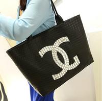 New Popular 2014 Sac Fashion Women Handbag Leather black Shoulder Tote bag Big Famous Brand Logo BAG Fake Designer CC